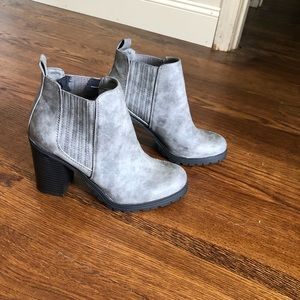 Light Grey Block Heel Treaded Ankle Boots